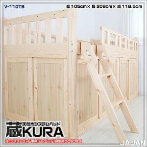 天然木すのこベッドシステムベッド通気性重視・耐加重150kgの子供用システムベッド下収納庫用お得な扉付きセットです