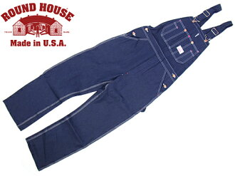 Roundhouse ROUND HOUSE # 966 Peony cherry classic blue denim overalls MADE IN USA (CLASSIC BLUES OVERALL raw denim)