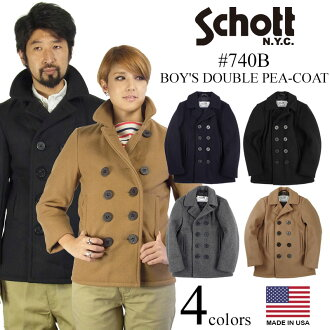 Shot SCHOTT 740B boys wool peacoat Navy double MADE IN USA ( BOY's Wool Double P-Coat P coat military )