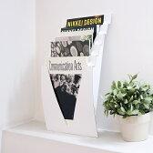 マガジンラック 壁掛け 北欧 ジャバラック(サテンホワイト) おしゃれ スリム 壁掛け収納 マガジンスタンド インテリア 雑誌 書類収納