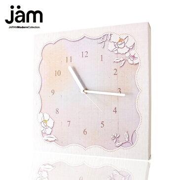 【30%OFF&ポイント10倍】ファブリックパネル 掛け時計 White Camellia 壁掛け時計 北欧 置時計 ファブリック時計