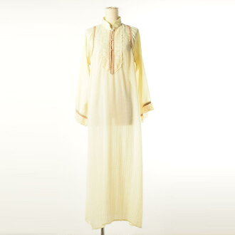 有有60年代~Oord&Taylor Saramal Lingerie USA製造聯合票的透明標準色蕾絲的長裙長長袖子襯衫連衣裙女士L復古LORD&TAYLOR/weq7145[舊衣店JAM][中古]160630