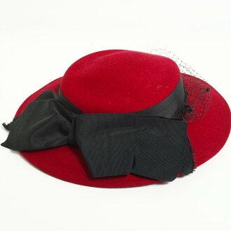 有邱爾蝴蝶結的氈帽子唾液寬大的帽子Lancaster/anb2898