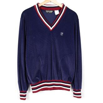 80年代皮爾·卡丹V字領長袖子天鵝絨襯衫人M復古Pierre Cardin/wez2119