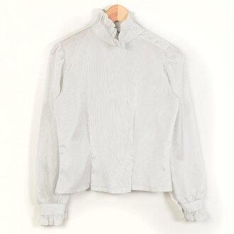 有USA製造大頭針條紋褶邊的標準色長袖子女襯衣女士M復古Jarvis Place/wac2196[中古][170327]