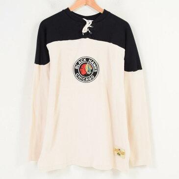 ~70年代 エベッツフィールドフランネルズ Ebbets Field Flannels NHL CHICAGO BLACKHAWKS シカゴブラックホークス ホッケーシャツ カナダ製 メンズXL ヴィンテージ /waq5030 【中古】 【180507】