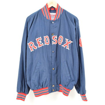 90年代 スターター Starter MLB BOSTON REDSOX ボストンレッドソックス ナイロンスタジャン アワードジャケット メンズL /wan0085 【中古】 【180506】
