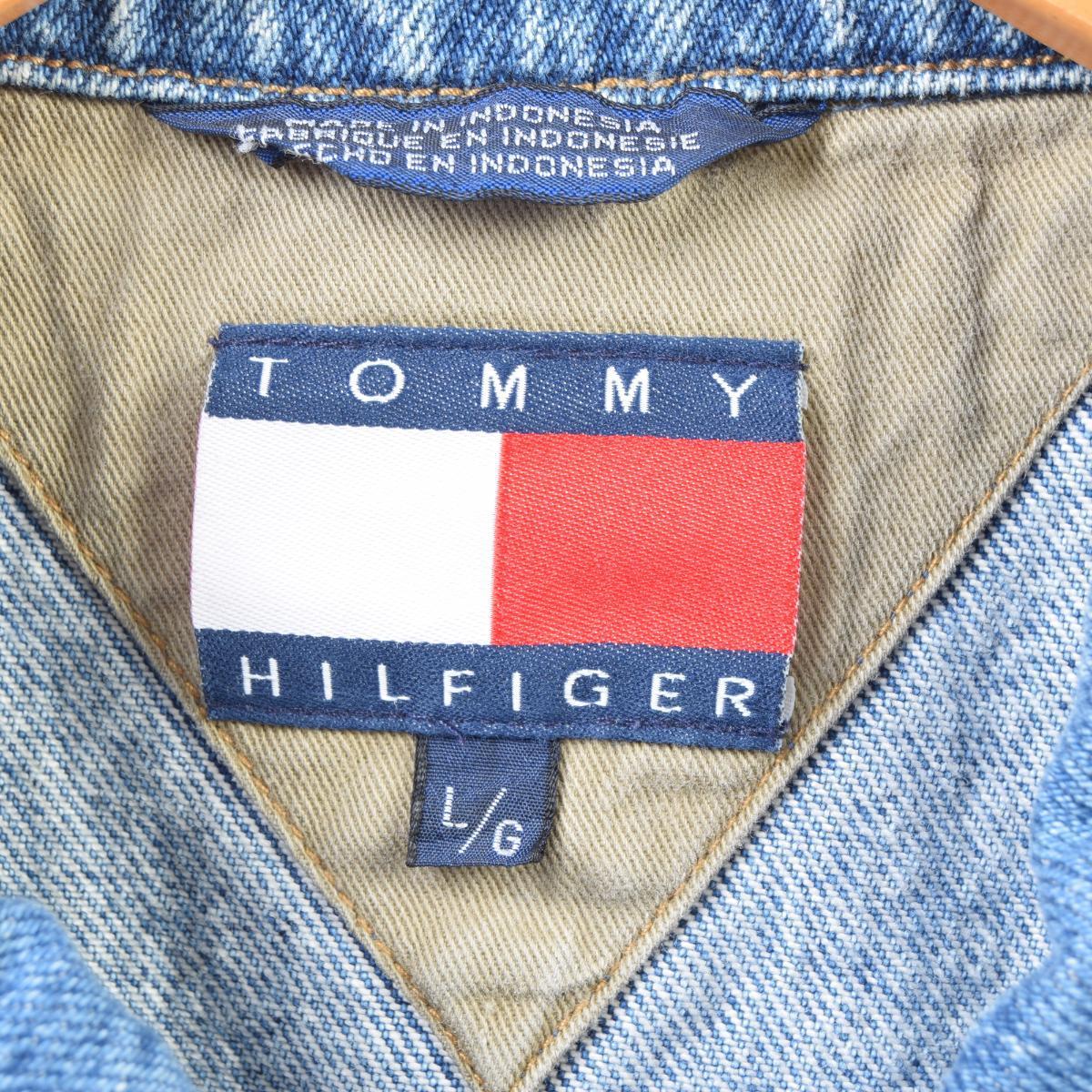 90年代 トミーヒルフィガー TOMMY HILFIGER デニムベスト メンズXL wbb5523 【190411】