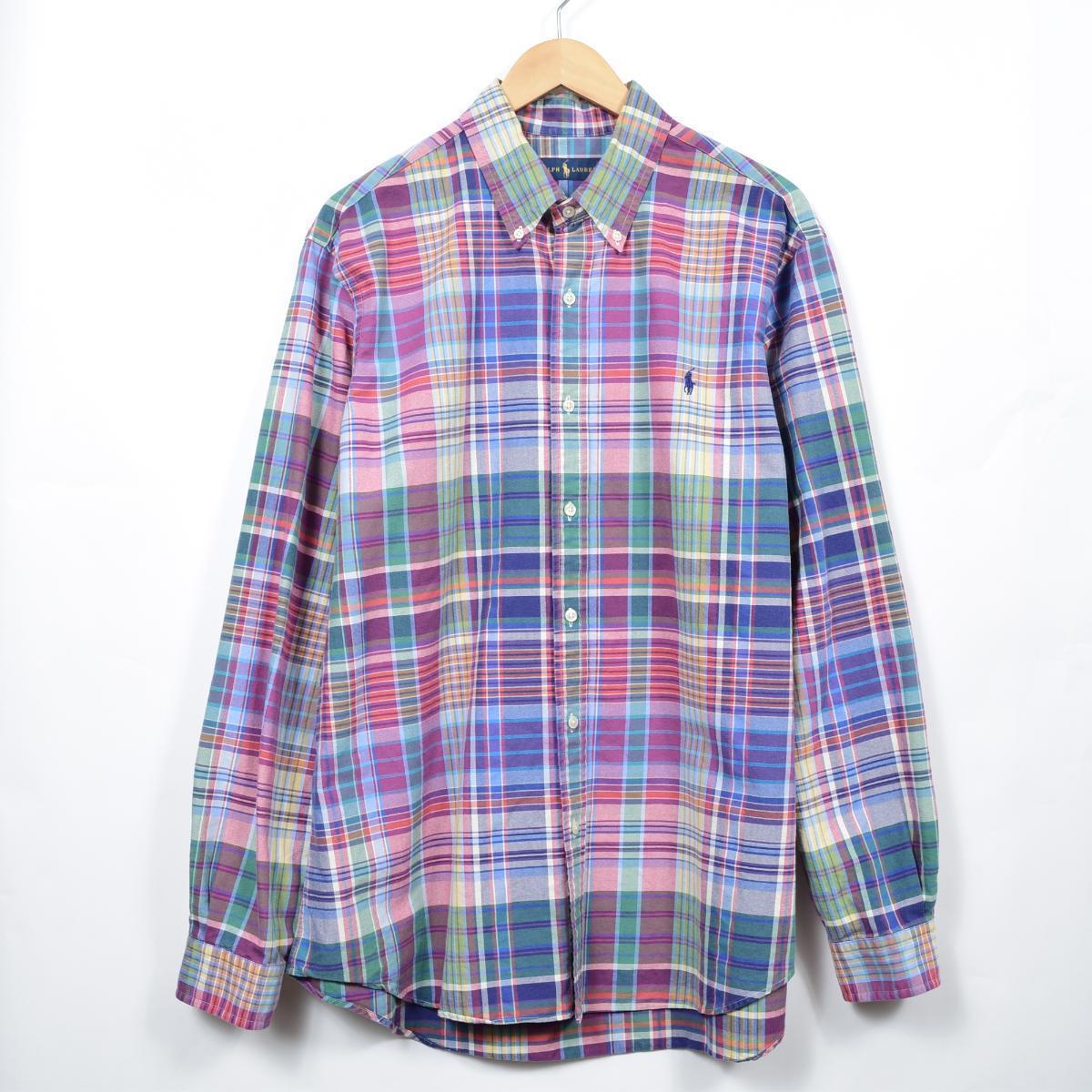 ラルフローレン Ralph Lauren 長袖 ボタンダウンチェックシャツ メンズL /eaa033307 【中古】 【200518】【SS2009】
