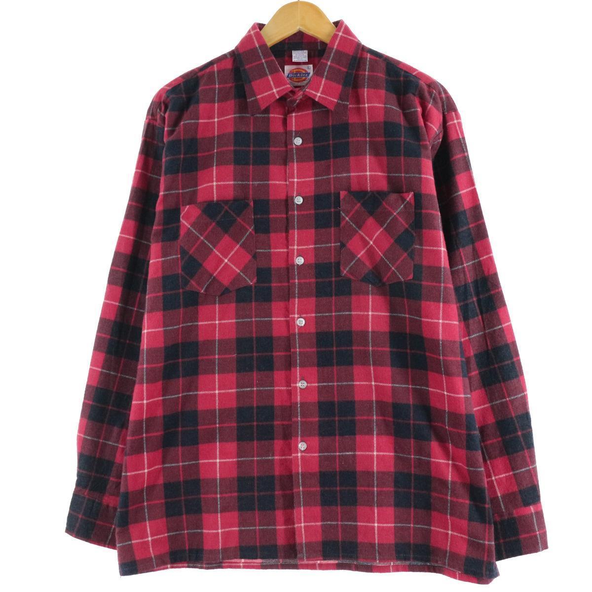 80年代 ディッキーズ Dickies チェック柄 長袖 ライトネルシャツ