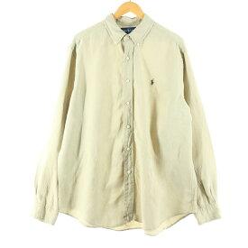 Ralph Lauren 長袖 シルク×リネン ボタンダウンシャツ
