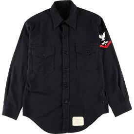 70年代 SHIRT MAN'S PLAIN WEAVE 65% POLYESTER/ 35% RAYON BLUE NAVY SHADE 3346 ミリタリー ユーティリティシャツ