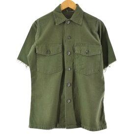 60年代 SHIRT MAN'S COTTON SATEEN OLIVE GREEN ミリタリー ユーティリティシャツ
