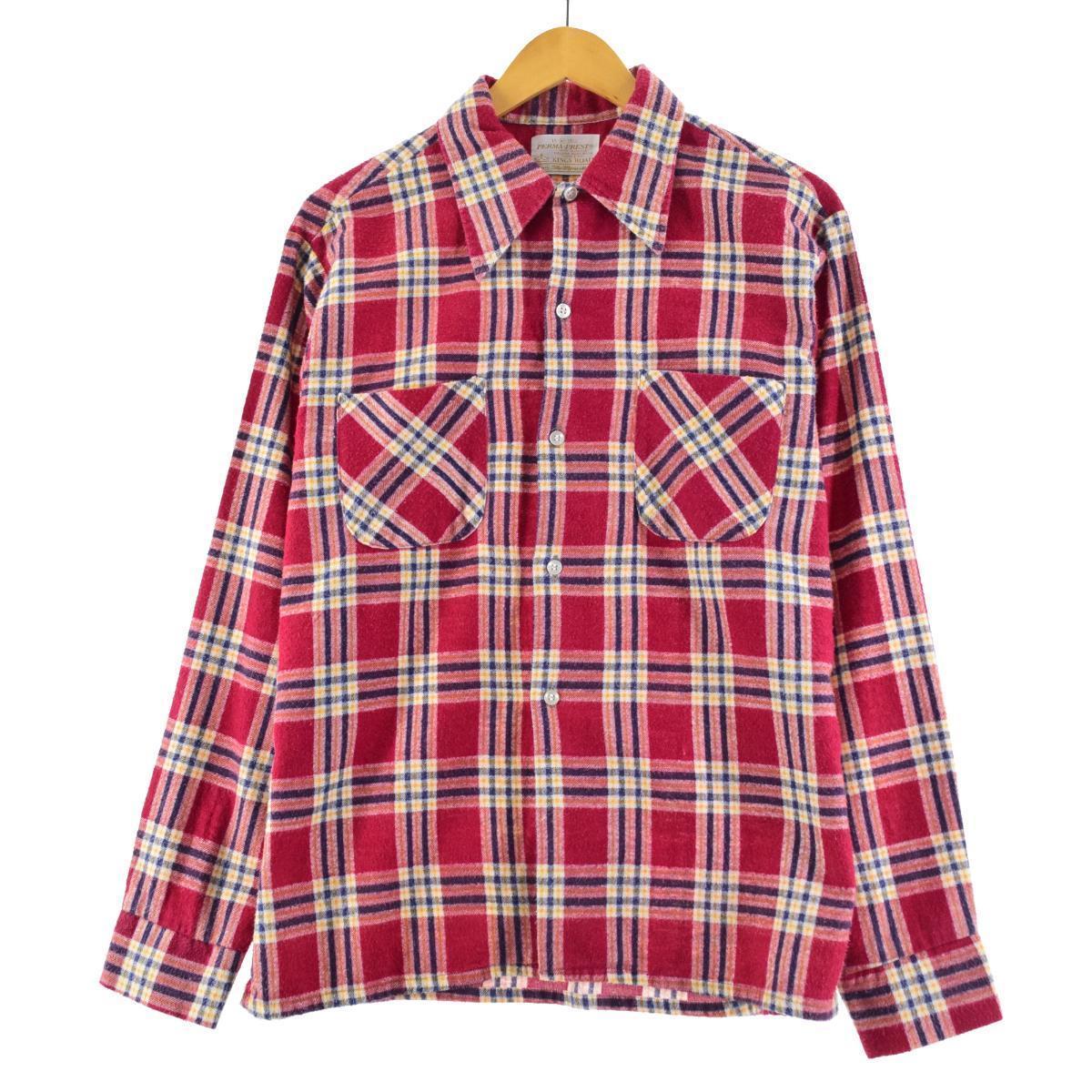 70年代 シアーズ Sears KINGS ROAD キングスロード チェック柄 長袖 プリントネル ボックスシャツ