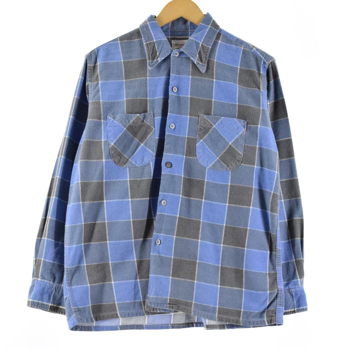 60年代 TARLETON チェック柄 長袖 プリントネル ボックスシャツ