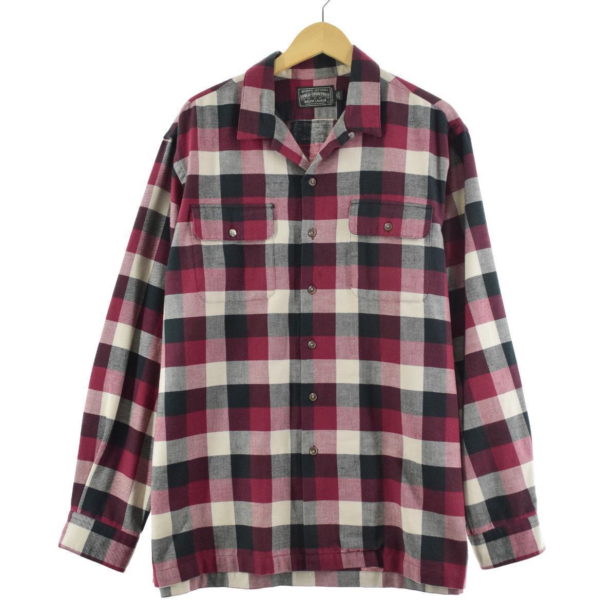 80~90年代 ラルフローレン Ralph Lauren POLO COUNTRY ポロカントリー チェック柄 オープンカラー 長袖 ライトネルボックスシャツ