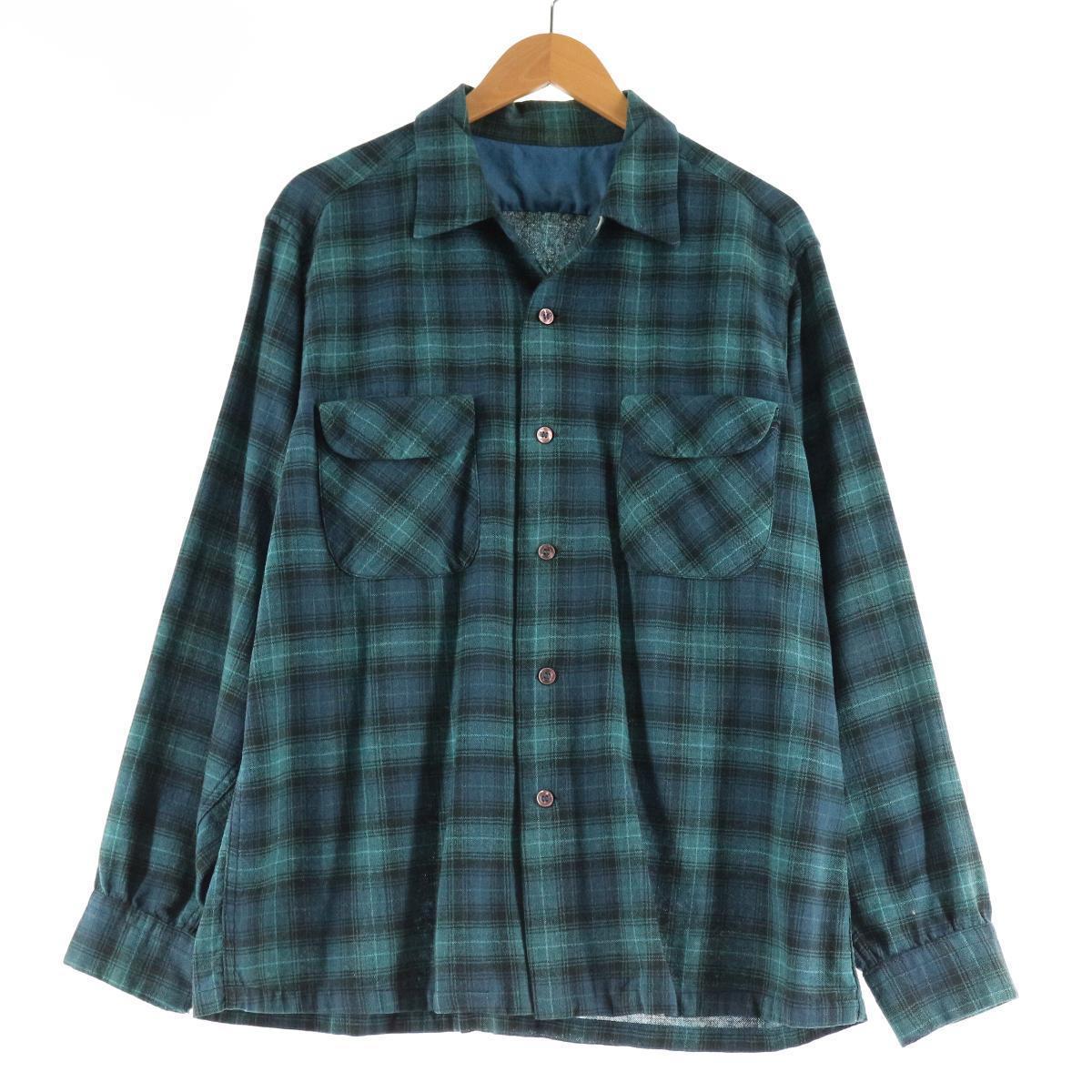 60年代 UNKNOWN チェック柄 オープンカラー 長袖 ライトネルシャツ ボックスシャツ メンズL ヴィンテージ