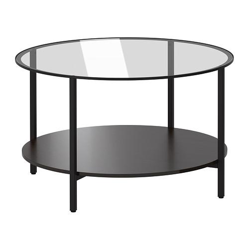 【★IKEA/イケア★】VITTSJO コーヒーテーブル ブラックブラウン/ガラス/002.133.13