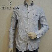 PEARLY KING (パーリーキング) メンズ ロングスリーブシャツ バンダナ柄 UK クレリックシャツ BDシャツ ボタンダウン[メンズ] 15292【SAX/S・Mサイズ】【WS】  15S/S10P03Dec16【あす楽】