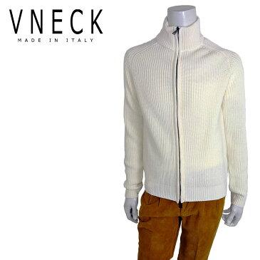 VNECK (ヴイネック) フルジップ カーディガン [メンズ] VN1876037 【WHT/46・48・50サイズ】 イタリア製 カーデ セーター ニット ハイネック【店頭受取対応商品】