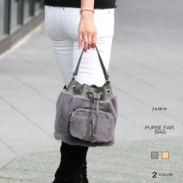 【送料無料】エコファーバッグレディースファーバッグバケツ型巾着全2色
