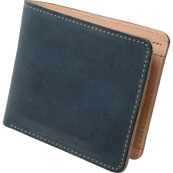 m i u o.jヌメ革二つ折り財布ブルーOJ−4021 代引不可  ギフト館