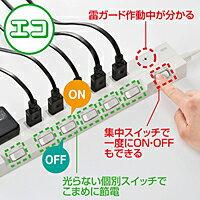 サンワサプライ節電エコタップ(2P、6個口、集中スイッチ付、1m)TAP-S18-1