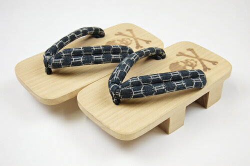 日本製-総桐下駄(げた)男物-二枚歯 ドクロ-黒