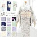アンティーク調 洗える着物お仕立て上がり洗える人気の絽の小紋 【夏】着物4点セット
