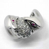 ブシュロンリングTroubleK18WGルビーダイヤモンド10.5号/#53【中古】