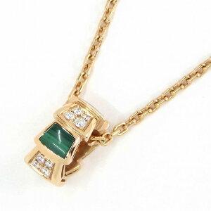 ブルガリネックレスセルペンティヴァイパーK18PGマラカイトダイヤモンド【中古】