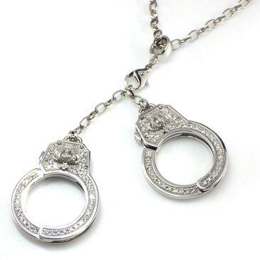 ジャスティンデイビス ネックレス 手錠モチーフ K18WG ダイヤモンド 0.25ct 【中古】