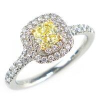 ティファニーリングソレストPT950K18YGイエローダイヤモンド(FY/VVS2)7.5号【中古】