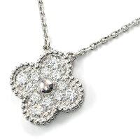ヴァンクリーフ&アーペルネックレスヴィンテージアルハンブラK18WGダイヤモンド【中古】