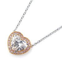 ティファニーネックレスPT950K18PGハートシェイプダイヤモンド0.90ct(H/VS1/EX)ピンクダイヤモンド【中古】
