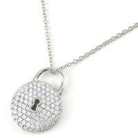 ティファニーネックレスラウンドキーロックパヴェダイヤPT950ダイヤモンド【中古】
