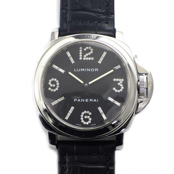 3倍 パネライ腕時計ルミノールベースダイヤモンドコレクションブラック文字盤テーパーラウンドダイヤインデックスフォールディングバ
