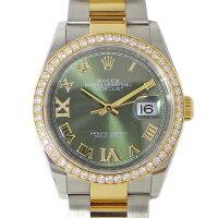 ロレックスRolex腕時計デイトジャスト36126283RBRダイヤベゼルグリーン文字盤ルーレット刻印カレンダーダイヤインデックス24ポイントダイヤモンドステンレススチールK18YG自動巻き【中古】