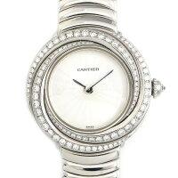 カルティエCartier腕時計トリニティダイヤベゼルシルバーギョーシェ文字盤K18WGクォーツ【中古】