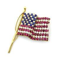 ティファニーTiffany&Co.ブローチ星条旗モチーフアメリカ国旗2001年ダイヤモンドルビーサファイアK18YG【中古】