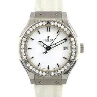ウブロHublot腕時計クラシックフュージョン581.NE.2010.RW.1104ダイヤベゼル白文字盤チタンSSホワイトラバークォーツ【中古】
