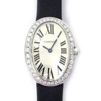 カルティエCartier腕時計ベニュワールスモールモデルダイヤベゼルシルバーローマ文字盤WB520008ダイヤモンドK18WGブラックレザークォーツ【中古】