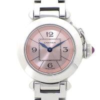 カルティエCartier腕時計ミスパシャW3140008ピンク文字盤ステンレススチールクォーツ【中古】