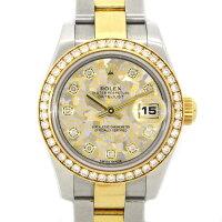 ロレックスRolex腕時計オイスターパーペチュアルデイトジャスト3列オイスターブレス179383Gダイヤベゼルゴールドクリスタルカレンダー10ポイントダイヤモンドK18YGステンレススチール自動巻き【中古】