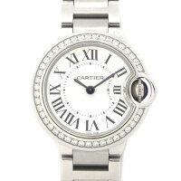 カルティエCartier腕時計バロンブルーW4BB0015ダイヤベゼルシルバーローマ文字盤ダイヤモンド0.48ctSSクォーツ【箱・保付き】【中古】