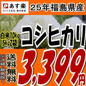 【あす楽】【送料無料】25年福島県産コシヒカリ白米10kg(5kg×2)【こしひかり】【米】【コメ】
