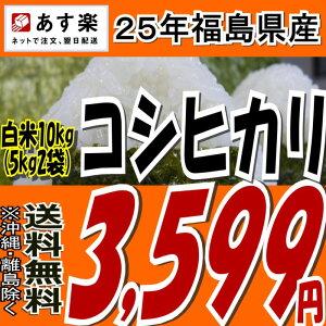 【あす楽対応】【送料無料】25年福島県産コシヒカリ白米10kg(5kg×2)【こしひかり】【米】【コメ】