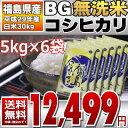 BG無洗米 コシヒカリ 5kg×6袋 精白米 30kg 福島...