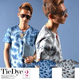 【全2色】VネックTシャツ半袖タイダイメンズファッション2017新作