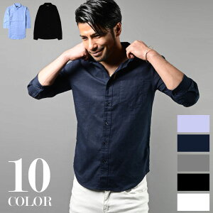 Men's 長袖 7分袖 カジュアルシャツ 綿麻 リネン 5色